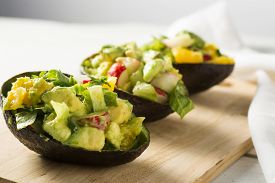image of radish  - Avocado radish and citrus salad in avocado skins - JPG