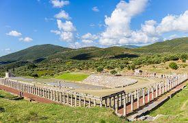 stock photo of messina  - ruins of stadium and gymnasium in Ancient Messina - JPG