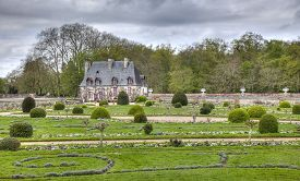 stock photo of poitiers  - The Chancellery the house of the estate steward located in the Diane de Poitiers garden near the Chenonceau Castle on the Loire Valley in France - JPG