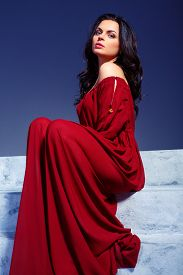 stock photo of marsala  - Beauty in marsala dress - JPG