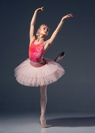 pic of ballerina  - Portrait of the ballerina in ballet pose on a grey background - JPG
