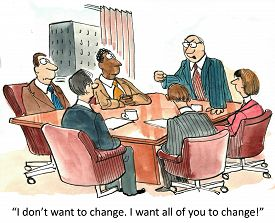 stock photo of change management  - Cartoon of business boss saying to his staff - JPG