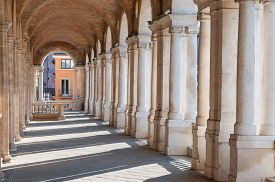 picture of vicenza  - Perspective of the columns of the Basilica palladiana in Vicenza - JPG