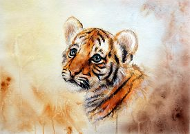 foto of airbrush  - A beautiful airbrush painting of an adorable baby tiger head looking up on abstract blurry background - JPG