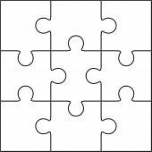 foto of jigsaw  - Jigsaw puzzle vector blank simple template 3x3 - JPG