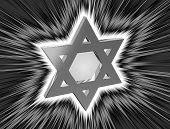 stock photo of covenant  - stylized image of the star of David in the monochrome version in the radiance rays - JPG