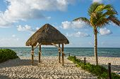 image of beach hut  - A beach hut on the sand along the coastline in Playa Del Carmen in Mexico - JPG
