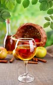 image of cider apples  - Apple cider in glass with cinnamon sticks and fresh apples on wooden table on natural background - JPG