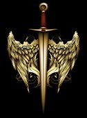 foto of sword  - medieval sword decorated with wings and swirls - JPG