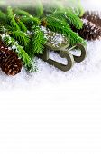 foto of sled  - Decorative sled on snow with fir tree branches on white background - JPG