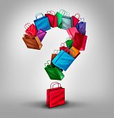 stock photo of clientele  - Shopping questions concept as a group of retail store bags shaped as a three dimensional question mark as a symbol and icon for consumer services and buying information as sales or product information - JPG