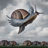 stock photo of surreal  - Advantage concept as a business metaphor with a surreal crowd of snails crawling slowly on the ground contrasted with a flying snail with wings as a symbol for competitive innovation and to rise above the rest - JPG