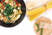 stock photo of thai cuisine  - spicy spaghetti thai cuisine on white background - JPG