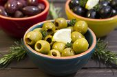 foto of kalamata olives  - A selection of three different types of olives - JPG