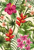 pic of jungle flowers  - Tropical floral seamless pattern with plumeria and hibiscus flowers - JPG