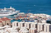 foto of gibraltar  - Scenic view from above over the port of Gibraltar - JPG