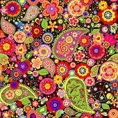 foto of hippy  - Colorful floral wallpaper with hippie symbolic - JPG