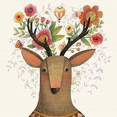 foto of incredible  - Incredible deer with awesome flowers - JPG