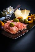 image of cheese platter  - Platter of prosciutto - JPG