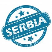 stock photo of serbia  - Round rubber stamp with word SERBIA and stars - JPG