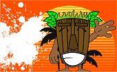 image of tiki  - tiki hawaiian mask cartoon summer background in vector format very easy to edit - JPG