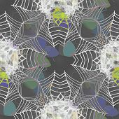 pic of cobweb  - Funky seamless background or texture with umbrellas motif and cobweb - JPG