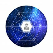 foto of cosmic  - Hipster triangular colorful cosmic background - JPG