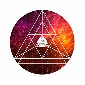foto of triangular pyramids  - Hipster triangular colorful cosmic background - JPG