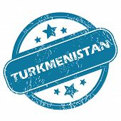 pic of turkmenistan  - Round rubber stamp with word TURKMENISTAN and stars - JPG