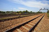 stock photo of train track  - trains track railways hub use for land transportation - JPG
