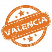 foto of valencia-orange  - Round rubber stamp with city name Valencia and stars - JPG