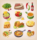 picture of mexican food  - Mexican street restaraunt and homemade food and product icons for ethnic menu - JPG