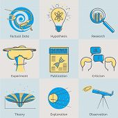 image of observed  - Flat line science icons set of factual data - JPG