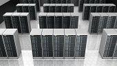 stock photo of cluster  - Server room in datacenter - JPG