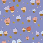 foto of pie-in-face  - Cute funny seamless pattern with sweet cupcakes - JPG