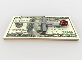pic of mouse trap  - Symbolic render illustration of a mouse trap made with a bundle of 100 dollar bill with e - JPG
