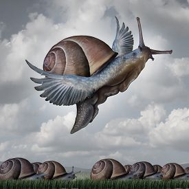 stock photo of surrealism  - Advantage concept as a business metaphor with a surreal crowd of snails crawling slowly on the ground contrasted with a flying snail with wings as a symbol for competitive innovation and to rise above the rest - JPG