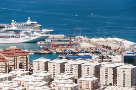 pic of gibraltar  - Scenic view from above over the port of Gibraltar - JPG