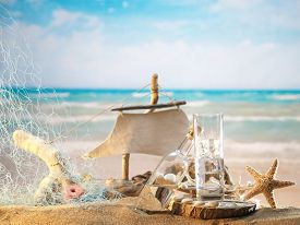 foto of ouzo  - Traditional Greek ouzo at the beach - JPG
