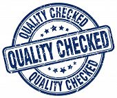Quality Checked Blue Grunge Round Vintage Rubber Stamp.quality Checked Stamp.quality Checked Round S poster