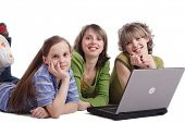foto of sissy  - Girls with a laptop - JPG