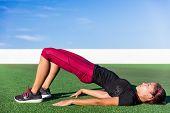Fitness Asian woman doing bodyweight glute exercises with floor bridge hip raise butt life leg exerc poster