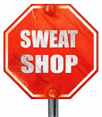 Постер, плакат: Sweat shop background 3D rendering a red stop sign
