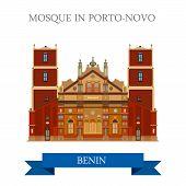 Постер, плакат: Mosque Porto Novo Benin vector flat Africa attraction landmark