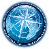 stock photo of sensory perception  - vector abstract composition with globe and windrose - JPG