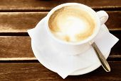 picture of coffee-cup  - Coffee cup on wooden table  - JPG
