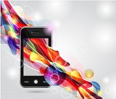 stock photo of mobile-phone  - Abstract model of the mobile with colorful abstract flow - JPG