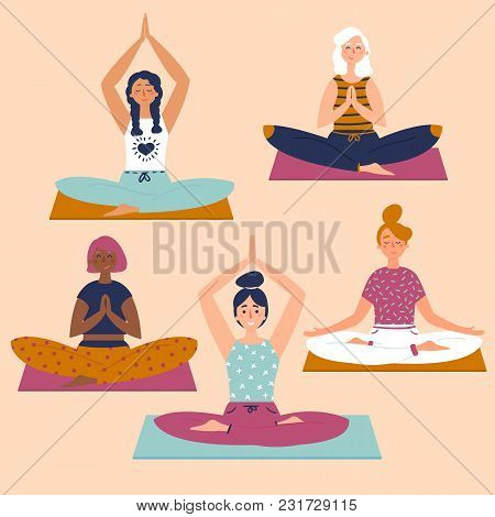 Set With Beautiful Women In Lotus Buddha Asana Pose Of Yoga  Vector Set Of  Exercises Illustration  F poster