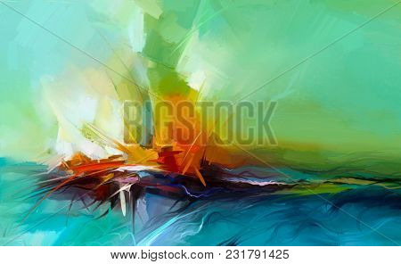 poster of Abstract Colorful Oil Painting On Canvas Texture. Semi- Abstract Image Of Landscape Paintings Backgr