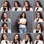 Set Of Different Emotions Of Business Woman In Formal Suit. Young Female Employee Using Gadgets And  poster
